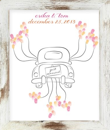 coche just married huellas
