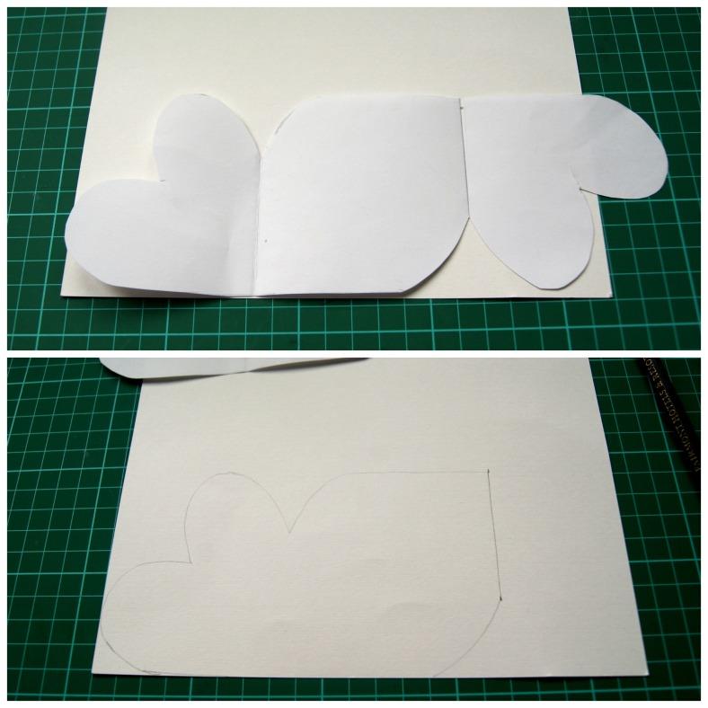 tarjeta de corazones calcamos sobre blanco