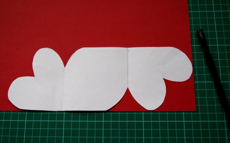 tarjeta de corazones calca rojo