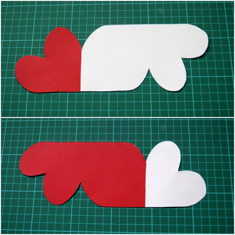 tarjeta de corazones por delante y por detras