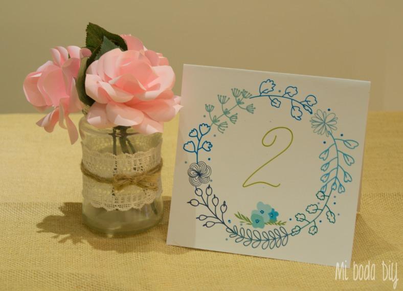 numero mesa flores azul