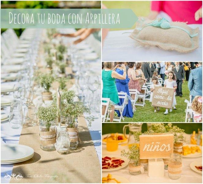 decora la boda con arpillera